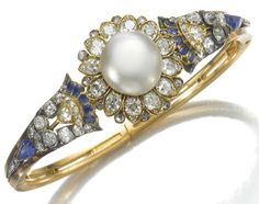 Natural pearl, sapphire and diamond bangle, Mellerio Dits Meller, circa Bling Jewelry, Pearl Jewelry, Jewelry Box, Jewelry Accessories, Jewlery, Victorian Jewelry, Antique Jewelry, Vintage Jewelry, Victorian Gold
