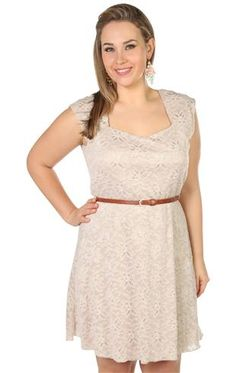plus size capped sleeve all over lace belted circle skirt dress in tan