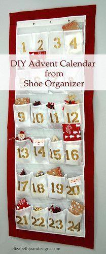 70 great ideas for diy advent calendars pinterest advent advent calendar made from shoe organizer diy solutioingenieria Choice Image