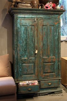 A painted and distressed armoire provides additional storage in any room of your house. Funky Painted Furniture, Green Furniture, Distressed Furniture, Funky Furniture, Ikea Furniture, Paint Furniture, Unique Furniture, Furniture Projects, Rustic Furniture