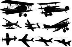 silhouette+vintage+plane | Vintage Airplane Silhouette Airplanes silhouettes - stock