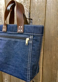 Women's Tote 'Daily' Handmade 14.5 oz. raw oxide denim + vintage leather handles