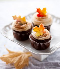 Chocolate Cupcakes w/ Marshmallow Fondant topped with Leaf-shaped Sugar Cookies
