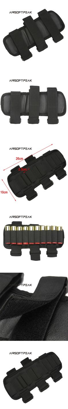 AIRSOFTPEAK Tactical Hunting 10 Rounds 12GA Ammo Cartridge Stock Holder Shooting Adjustable Forearm Bullet Arm Belt Pack Pouch