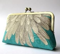 Chrysanthemum silk lined clutch purse by BagNoir