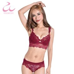 6f4d4aadc0 Kang Bowie High End Bra Panty Set Ultra Thin Red Push Up Bralette Women s Lace  Bra Underwear Wire Sexy Minimizer Bra Panty Sets -in Bra   Brief Sets from  ...