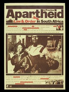 Poster entitled 'Apartheid in Practice: Law and Order' by David King for the Anti-Apartheid Movement. Youth Day South Africa, Africa Quotes, Freedom Day, Scientific Journal, History Education, History Classroom, Law And Order, American War, Nelson Mandela