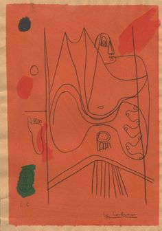 "Le Corbusier (Swiss/French, 1887 - 1965).  ""Figure nue"".  Mixed media on paper. c1954."