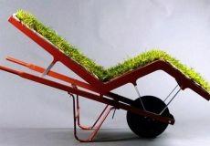 Grass Cushioned Repurposed wheel barrow