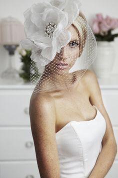 White Full Bloom Birdcage Veil : Kristi Bonnici