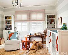 Adorable grey and orange nursery design with white & gray horizontal striped walls red & blue . Striped Nursery, Orange Nursery, Striped Walls, Nursery Neutral, Nursery Grey, Neutral Nurseries, Nursery Stripes, Puppy Nursery, Bright Nursery