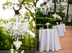 Wedding Decor | Rachel Kabukala Photography www.rachelkabukala.com   Wedding Ideas and Decoration Examples Plein Air Outdoor Garden Reception  Chandeliers & Lighting