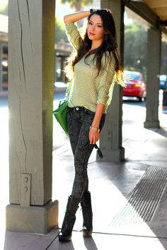 Jessica from Hapa Time styles a pair of bebe Emma Lace Up Boots with this casual cool outfit #styleinspiration