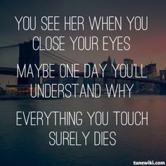 """Everything you touch surley dies"" Let her go, by Passenger. I love this song, and love this singer!"