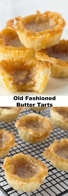 Indulge in some good Old Fashioned Butter Tarts. A Canadian classic dessert recipe with sweet, slightly runny filling and flaky melt in your mouth pastry. (Old Fashioned Sweet Recipes) Brownie Desserts, Mini Desserts, Classic Desserts, Just Desserts, Delicious Desserts, Yummy Food, Cinnamon Desserts, Dessert Tarts Mini, Fruit Tarts