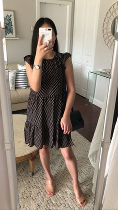 Ann Taylor Dot Ruffle Sleeve Shift Dress, size XXSP