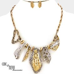 MIXED METAL ANTIQUE GOLD & SILVER CHUNKY BIB NECKLACE FASHION JEWELRY SET CHIC #Unbranded