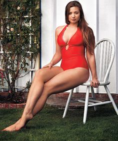 red bathing suit, Baywatch style.  I love the Seafolly brand.  Very good support and tummy friendly.