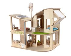 Plan Toys Green Wooden Dolls House With Furniture