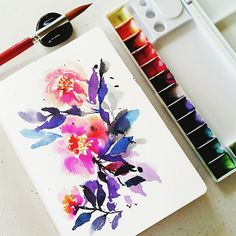 Morning florals #calligrafikas #watercolor Paper: Monologue sketchbook A5 Paint: Dr. Ph Martins radiant concentrated watercolors Brush: Best buy round no 18