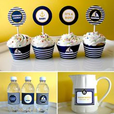 diy sailor party | Nautical Baby Shower Printable - Printable Party - First Birthday ...