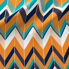 Zigzag 1 fabric design, in Cresta colorway in dark navy blue, turquoise, orange and white. Chevron Art, Dark Navy Blue, Zig Zag, Custom Fabric, Spoonflower, Fabric Design, Craft Projects, Turquoise, Quilts