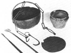 Hood trammel (no size given) shown with and Iron Cauldron, and a dish Iron. Zaozere, Ladoga (St Petersburg), Russia / 10th c. CE Viking to Crusader / Rosedahl & Wilson page 304 / number 292.
