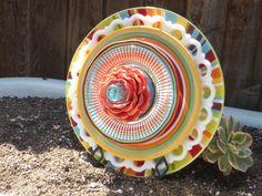 Glass Plate Flower, garden art, ceramic plate flowers, vintage plate flowers