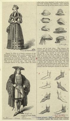 Woman of the German Renaissance, 16th century ; Knight and bailiff of Nuremberg, 16th century ; Hats, 15th & 16th centuries ; shoes, 14th, 15th, and 16th centuries