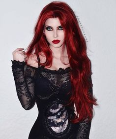 gothic w bright red hair