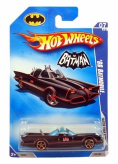"""Hot Wheels 1966 TV Series Batmobile 1/64 VARIANT Wheels by Mattel. $9.99. It has wheels. Hot Wheels 1966 TV Series Batmobile 2009 """"Faster Than Ever"""" Series . This car has the classic gloss black with red pinstripe paint job, mesh grill, black base and copper 5 spoke wheels!"""
