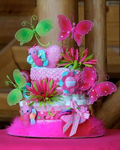 butterfly baby shower cakes | RESERVED 2 Tier Butterfly Diaper Cake by BettyCakesBakery on Etsy