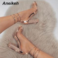 Quality LALA IKAI Women Heeled Sandals Bandage Rhinestone Ankle Strap Pumps Super High Heels 11 CM Square Heels Lady Shoes with free worldwide shipping on AliExpress Mobile Cute Heels, Lace Up Heels, Ankle Strap Heels, Ankle Straps, Rose Gold High Heels, Black Heels, Strap Sandals, Classy Heels, Stilettos