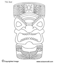 Hawaiian Tiki Mask Coloring Pages Printable