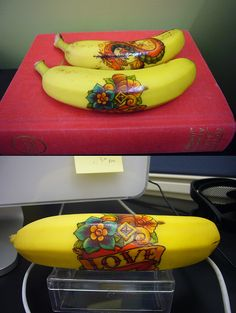 add temporary tattoos to bananas for the kids...could do this with any non edible peel fruit