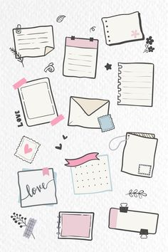 Planner doodle collection vector | free image by rawpixel.com / Chayanit Bullet Journal Banner, Bullet Journal Writing, Bullet Journal Aesthetic, Bullet Journal Ideas Pages, Bullet Journal Inspiration, Planner Doodles, Notebook Doodles, Doodle Art Journals, Journal Stickers