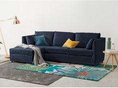 Milner Left Hand Facing Corner Storage Sofa Bed with Foam Mattress, Regal Blue Velvet
