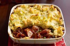 This comforting sausage and mash bake recipe will be a hit with the whole family. It's such an easy dinner. One thing's for sure, there'll be no leftovers! # Sausage And Mash Bake Sausage Recipes For Dinner, Sausage Meat Recipes, Hotdog Casserole Recipes, Leftover Sausage Recipes, Tasty Recipes For Dinner, Easy Family Recipes, Healthy Recipes For Kids, Easy Sausage Casserole, Sausage Meals