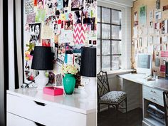 Floor to ceiling inspiration board for my bedside? I love the way the righthand board looks fitted to the wall