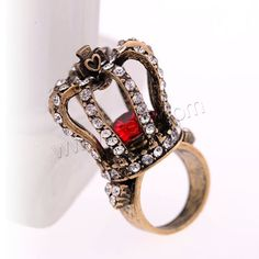 Rhinestone Zinc Alloy Finger Ring, Crown, antique gold color plated, with rhinestone, lead & cadmium free, 17mm, US Ring Size:6.5, Sold By PC