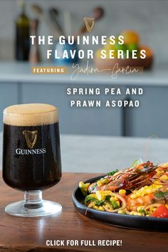 A Guinness twist on a Caribbean dish—our partner Chef Yadira Garcia's Spring Pea and Prawn Asopao paired with Guinness Extra Stout for our Guinness Flavor Series takes a classic stew full of fresh herbs and bloomed spices, and adds a dash of our Baltimore Blonde for that citrusy, bright, and blonde flavor. Treat yourself. Guinness Recipes, Prawn, Treat Yourself, Fresh Herbs, Stew, Spices, Treats, Dishes, Vegetables