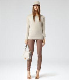 Reiss.  Carrie leather leggings in Cognac.