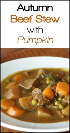 We love beef stew in the fall, especially on a cool, rainy autumn night. There is something hearty, nourishing and warming about a nice, steaming mug of beef stew with pumpkin. Paleo Recipes, Crockpot Recipes, Soup Recipes, Whole Food Recipes, Dinner Recipes, Paleo Dinner, Lunches And Dinners, Meals, Soups And Stews
