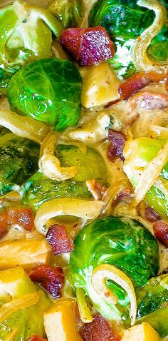 Creamy Brussels Sprouts with Bacon, Apples and Gorgonzola Cheese - Thanksgiving Holiday side dish