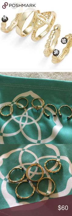 Kendra Scott Miles Midi Rings 14K gold plated brass with cubic zirconia detailing. Set of 5. Worn above the first knuckles. Sizes 3-4. No tarnishing Kendra Scott Jewelry Rings