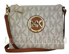 MICHAEL KORS Fulton Large Crossbody PVC Vanilla Bag