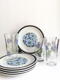 Vintage Set of Floral Plates and Glasses-4 Glasses, 5 Plates