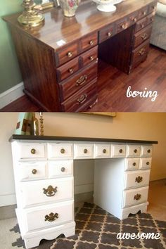 Turn a desk into a vanity maybe