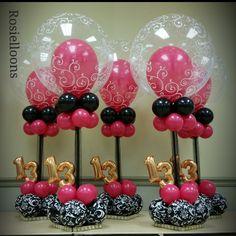 Balloon Centerpieces, Balloon Decorations, Birthday Decorations, 16 Balloons, Number Balloons, 13th Birthday Parties, 27th Birthday, Balloon Columns, Balloon Arch