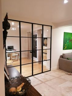 The metal framed doors can balance all sorts of interior decors. They look similar to the steel doors, but with their own benefits. Office Interior Design, Office Interiors, Interior Decorating, Double Doors Interior, Interior Sliding Glass Doors, Aluminium Sliding Doors, Door Dividers, Glass Room Divider, Glass French Doors
